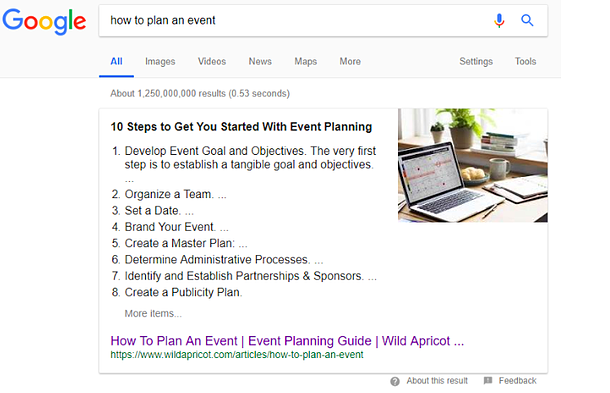 Blogging: Featured Snippet