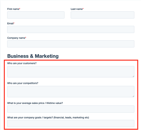 Buyer persona-style questions form