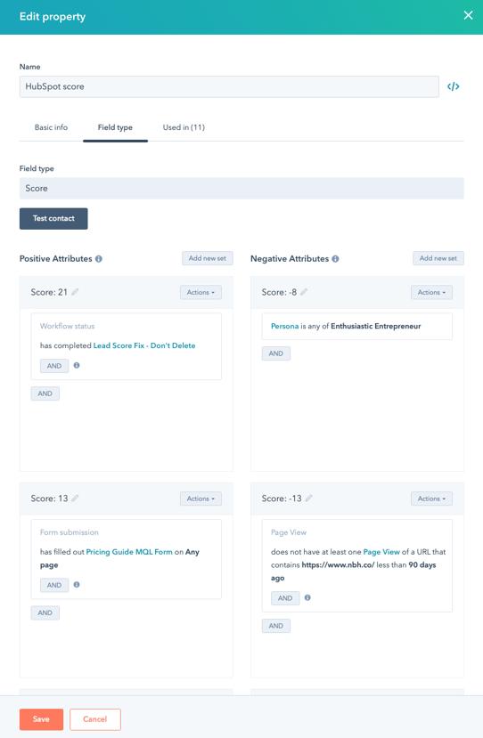 HubSpot's Lead scoring tool