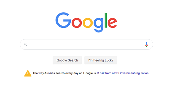 Google screenshot linking to their open letter