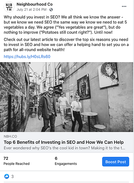 social media blog posts